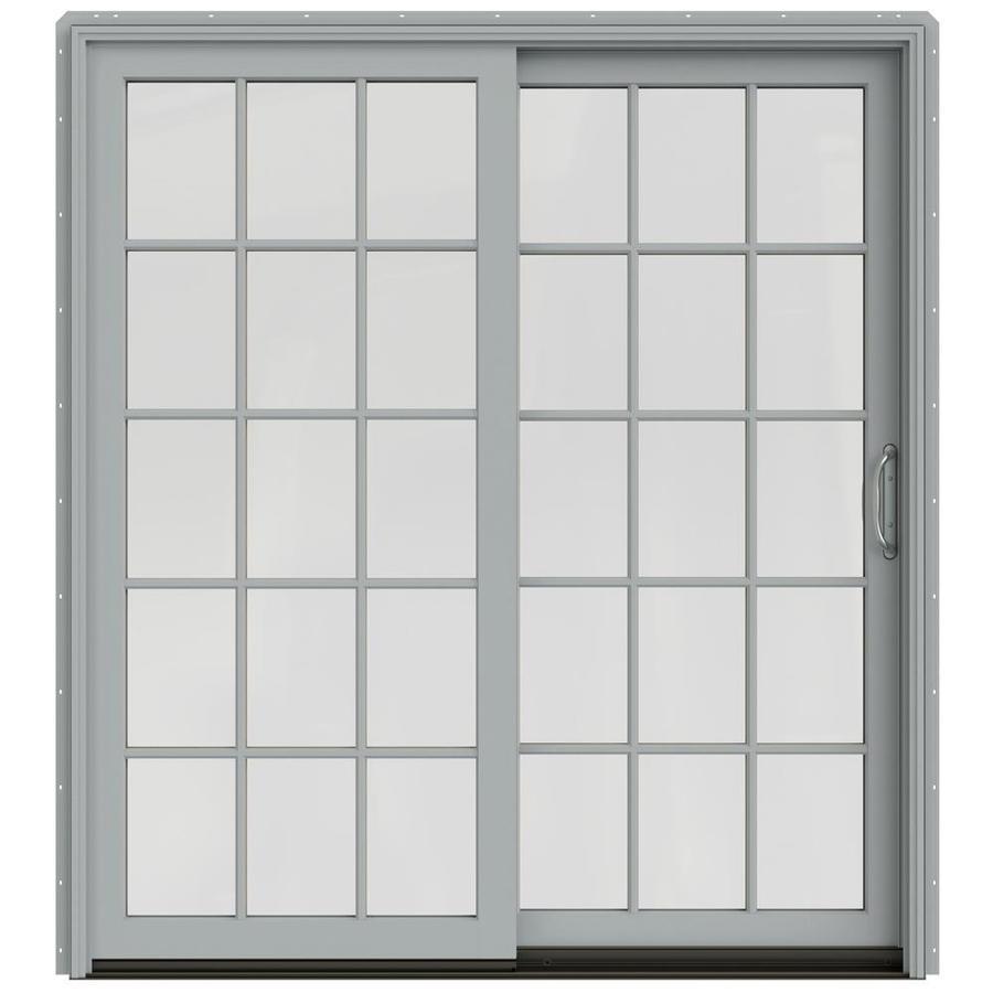 JELD-WEN W-2500 71.25-in 15-Lite Glass Arctic Silver Wood Sliding Patio Door with Screen