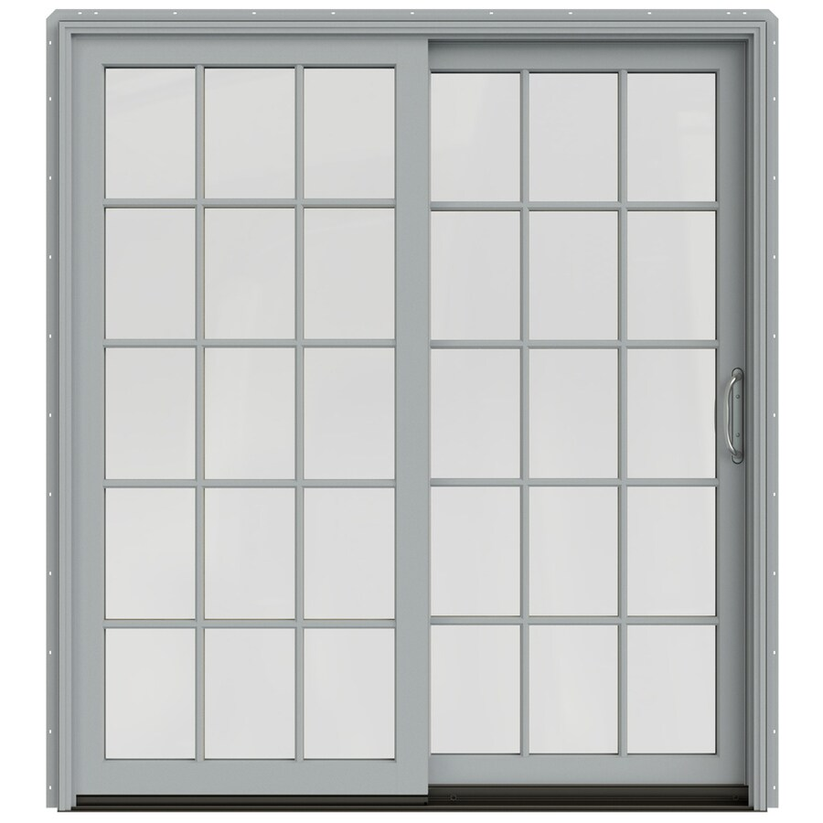 JELD-WEN W-2500 71.25-in 15-Lite Glass Arctic Silver Wood Sliding Patio Door Screen Included