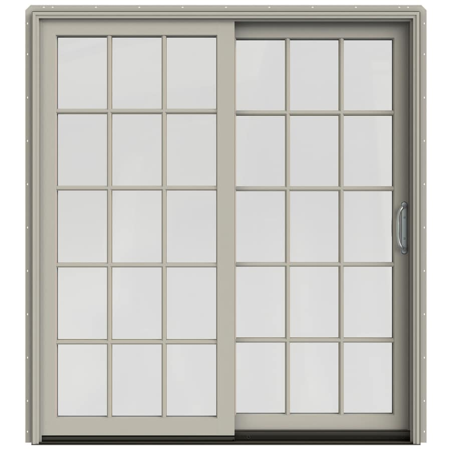 JELD-WEN W-2500 71.25-in 15-Lite Glass Desert Sand Wood Sliding Patio Door with Screen