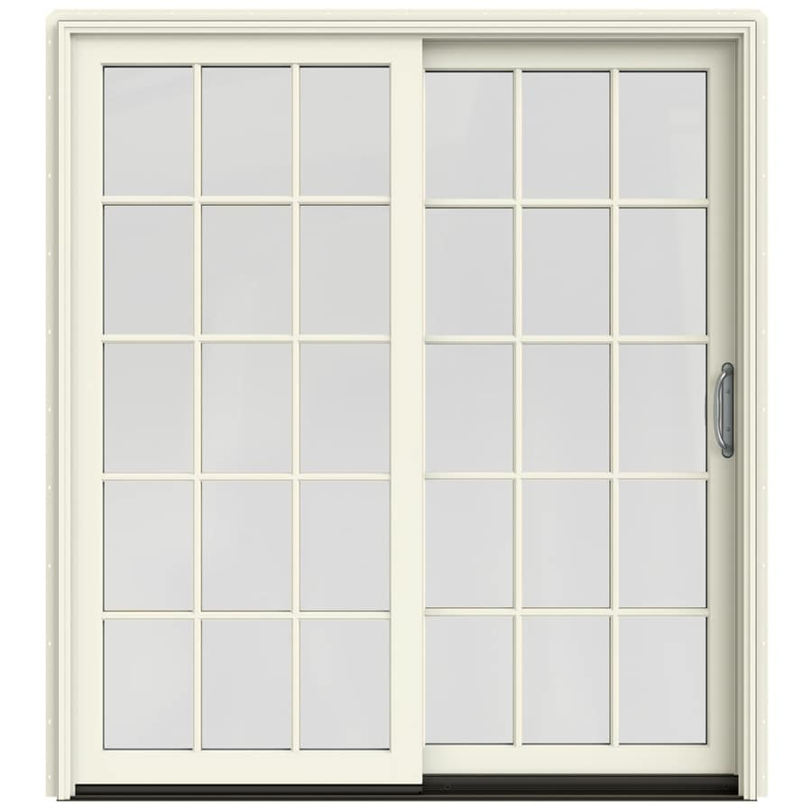 JELD-WEN W-2500 71.25-in 15-Lite Glass French Vanilla Wood Sliding Patio Door with Screen
