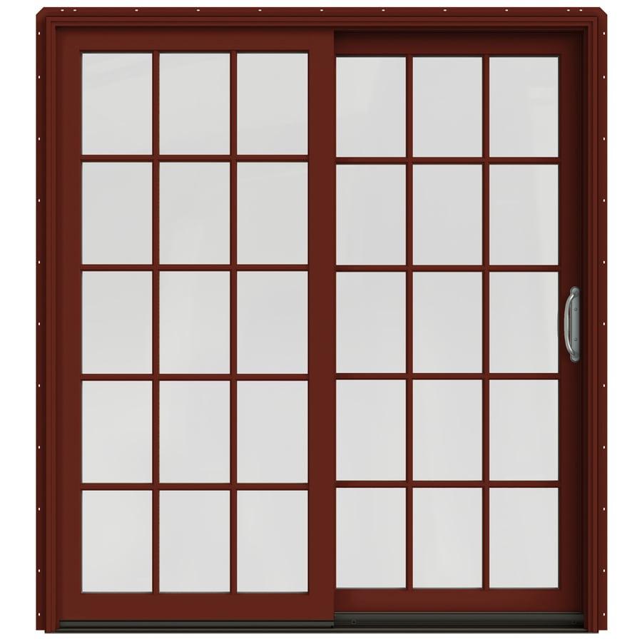 JELD-WEN W-2500 71.25-in 15-Lite Glass Mesa Red Wood Sliding Patio Door Screen Included