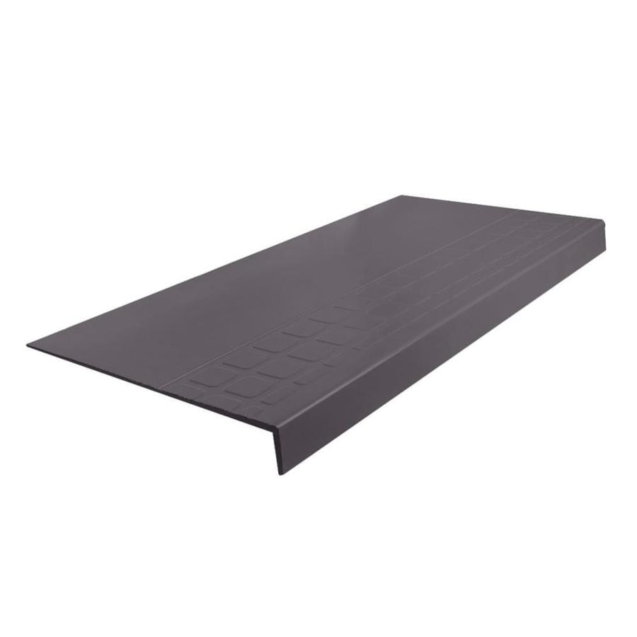 FLEXCO 12.25-in x 60-in Charcoal Rubber Square Nose Stair Treads