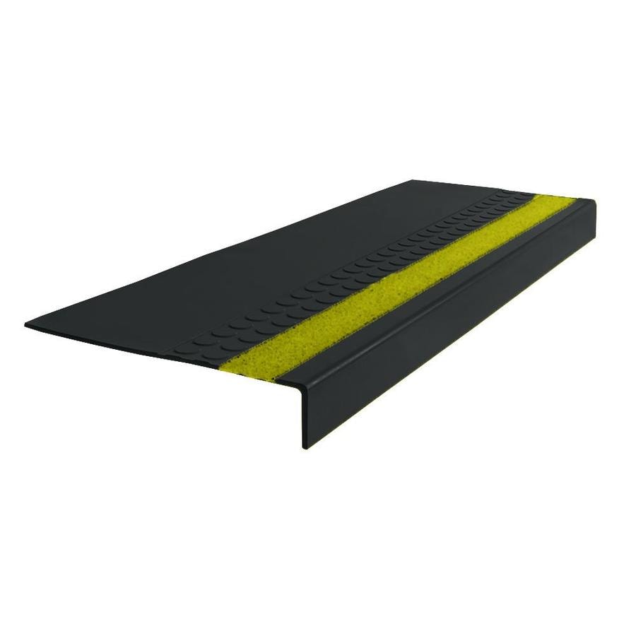 FLEXCO 12.25-in x 48-in Black Dahlia with Yellow Grit Strip Rubber Square Nose Stair Treads