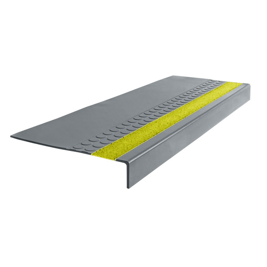 FLEXCO 12.25-in x 48-in Medium Gray with Yellow Grit Strip Rubber Square Nose Stair Treads