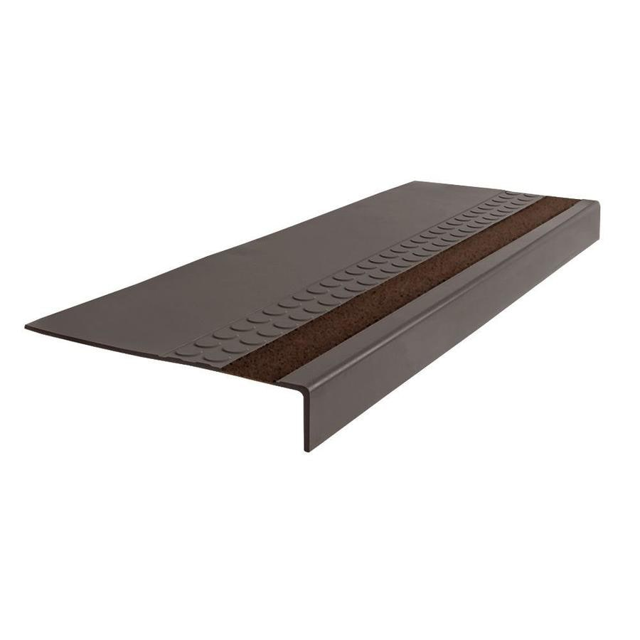 FLEXCO 12.25-in x 42-in Bark with Brown Grit Strip Rubber Square Nose Stair Treads