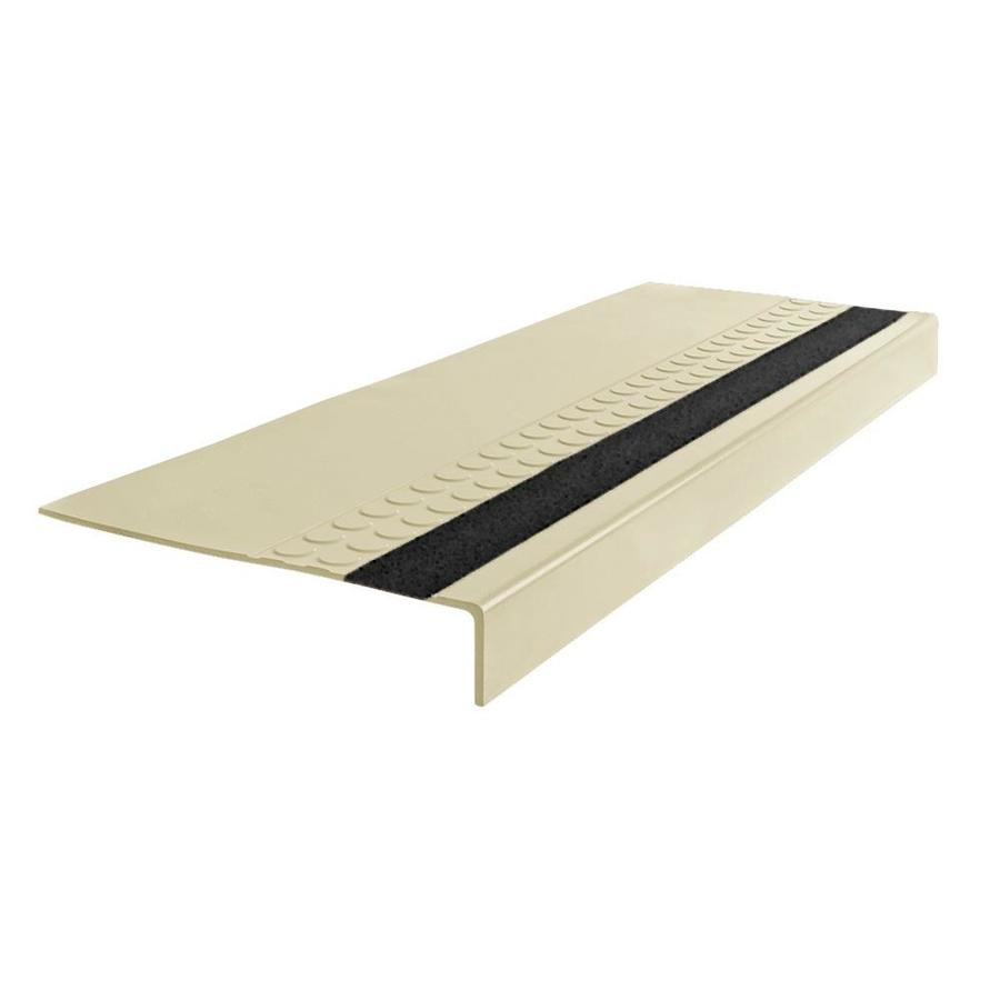 FLEXCO 12-in x 36-in Almond with Black Grit Strip Rubber Square Nose Stair Treads