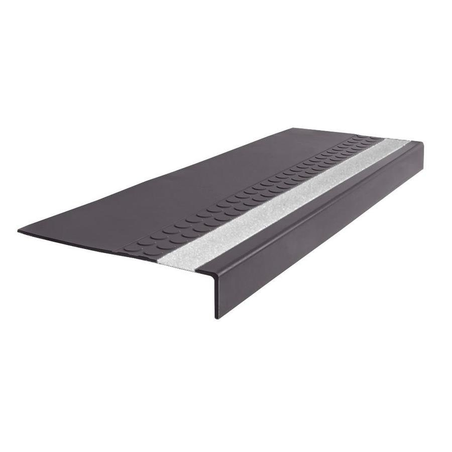 FLEXCO 12-in x 48-in Charcoal Rubber Square Nose Stair Treads