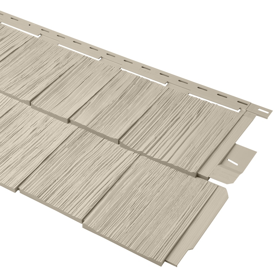 Shop durabuilt 670 vinyl siding panel shake woodgrain tan for Wood grain siding panels