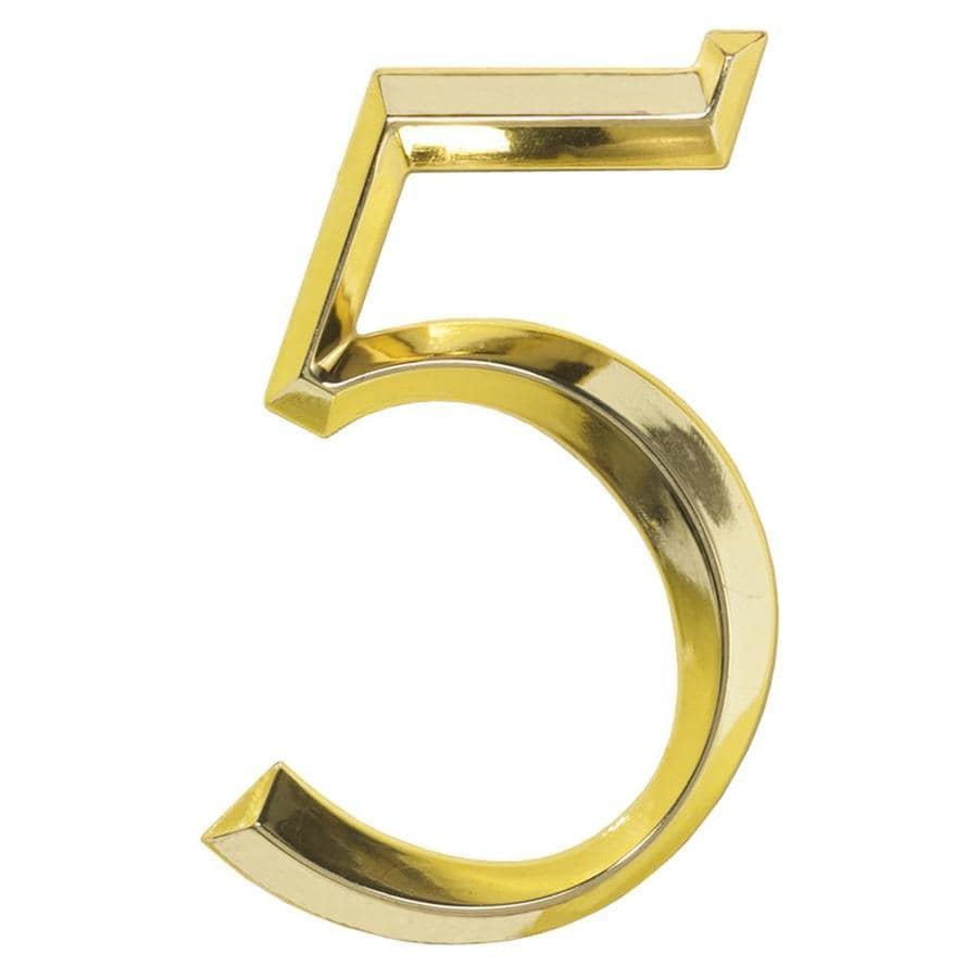 Whitehall 6-in x 4-in Polished Brass Number 5