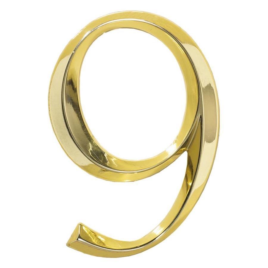 Whitehall 6-in x 4-in Polished Brass Number 9