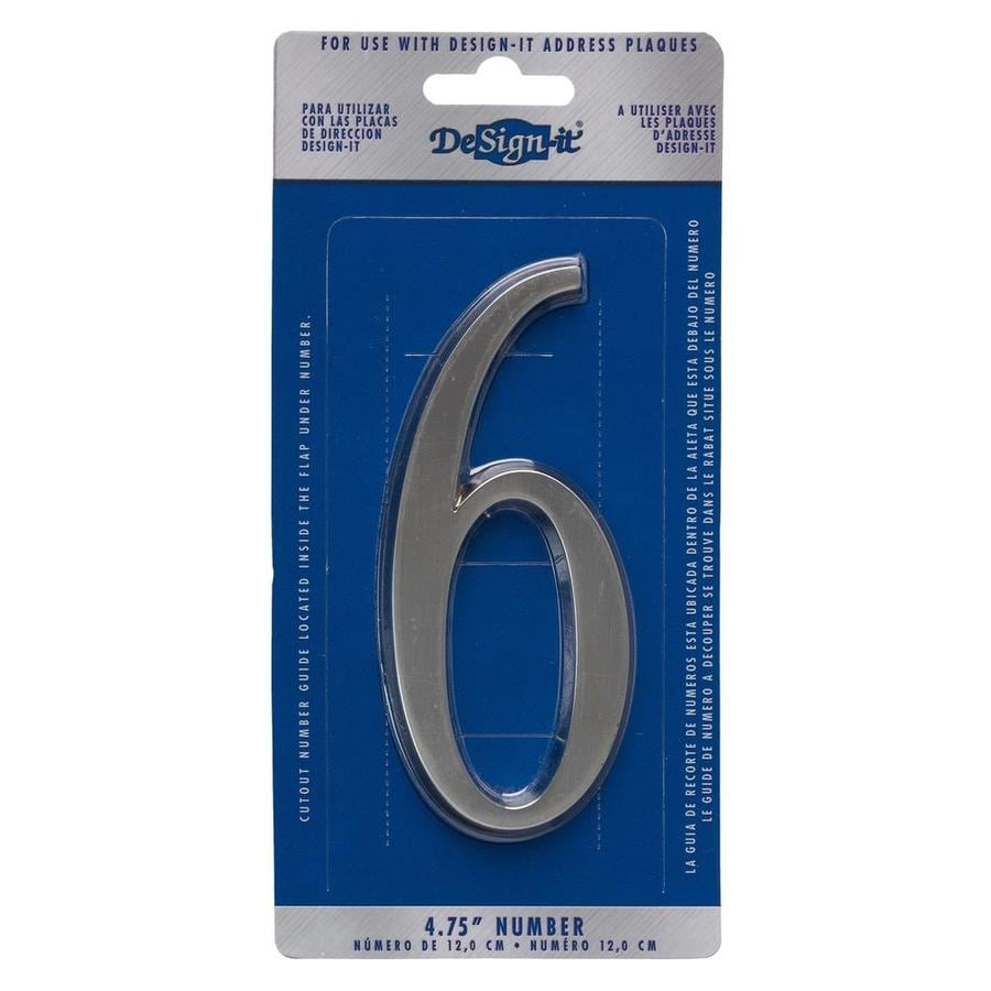 DeSign-it 5-in Satin Nickel House Number 6