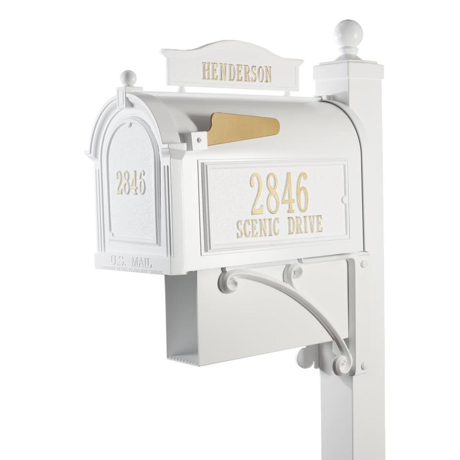 Whitehall 10.125-in x 58-in Metal White Ground Mount Mailbox with Post