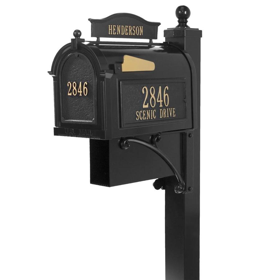 Whitehall 10.125-in W x 58-in H Metal Black Ground Mount Mailbox With Post