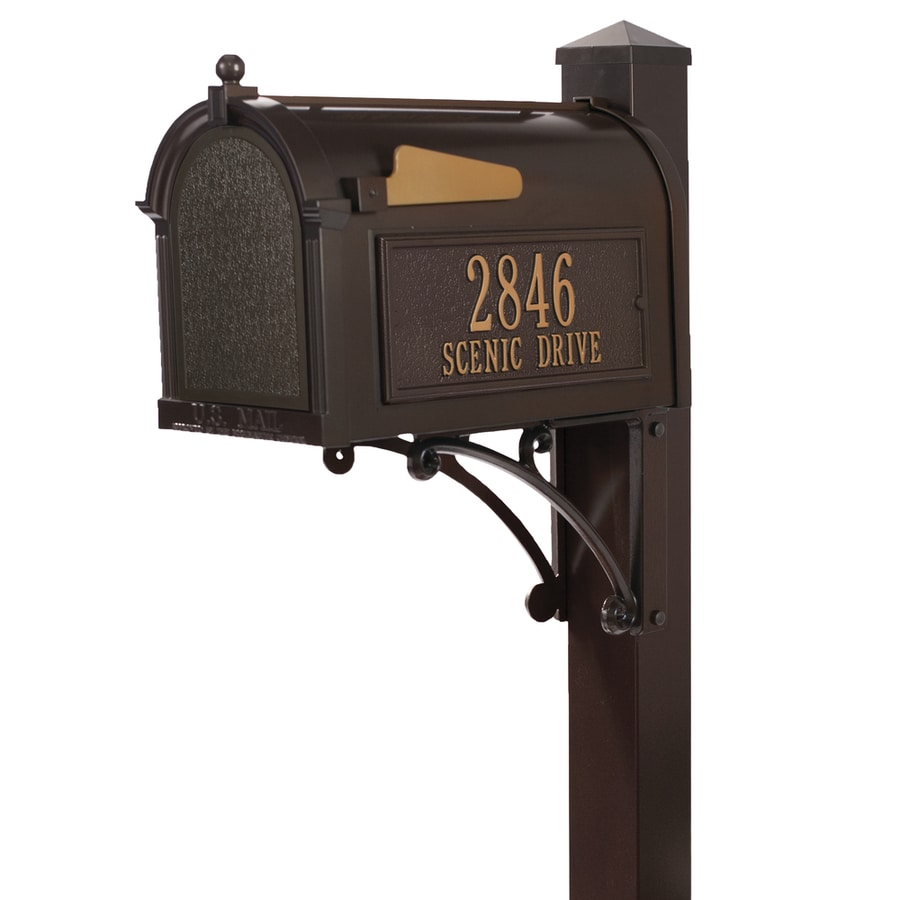 Bronze Mailbox With Post Part - 17: Whitehall 10.125-in X 55-in Metal French Bronze Ground Mount Mailbox With  Post
