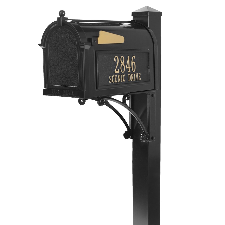 Whitehall 10.125-in x 55-in Metal Black Ground Mount Mailbox with Post