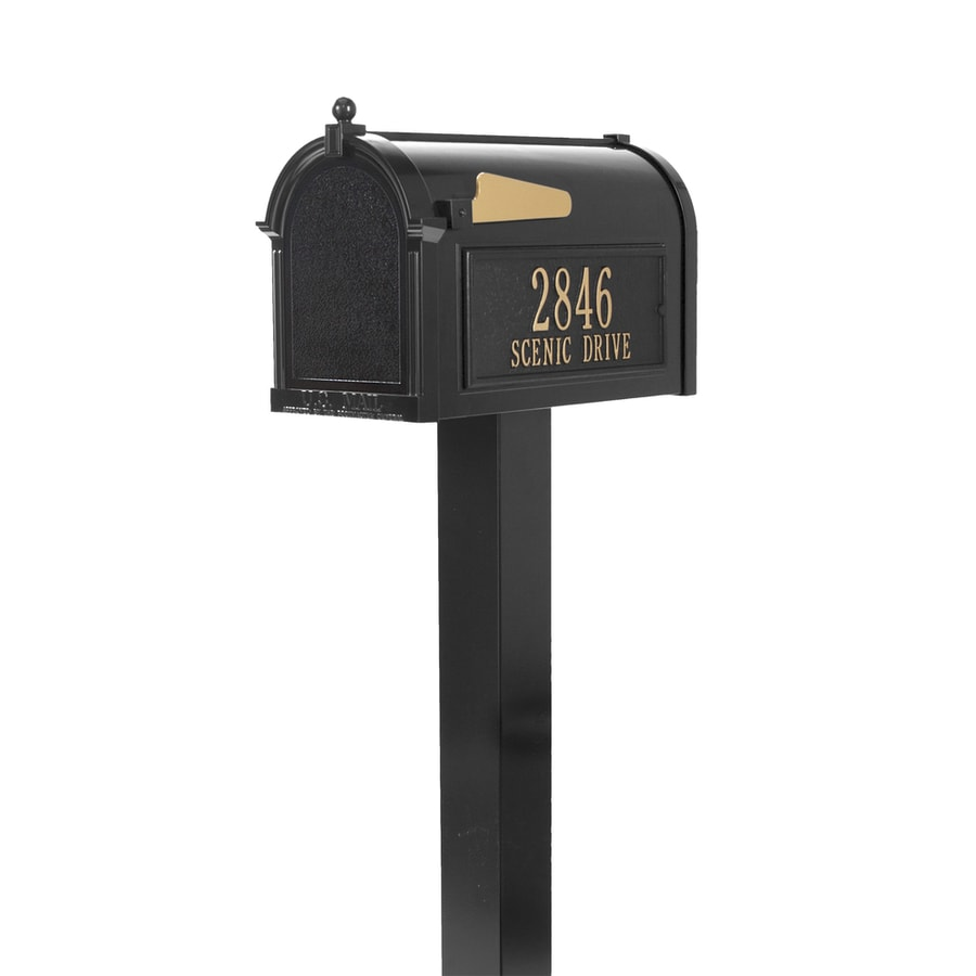 Whitehall 10.125-in W x 53-in H Metal Black Ground Mount Mailbox With Post