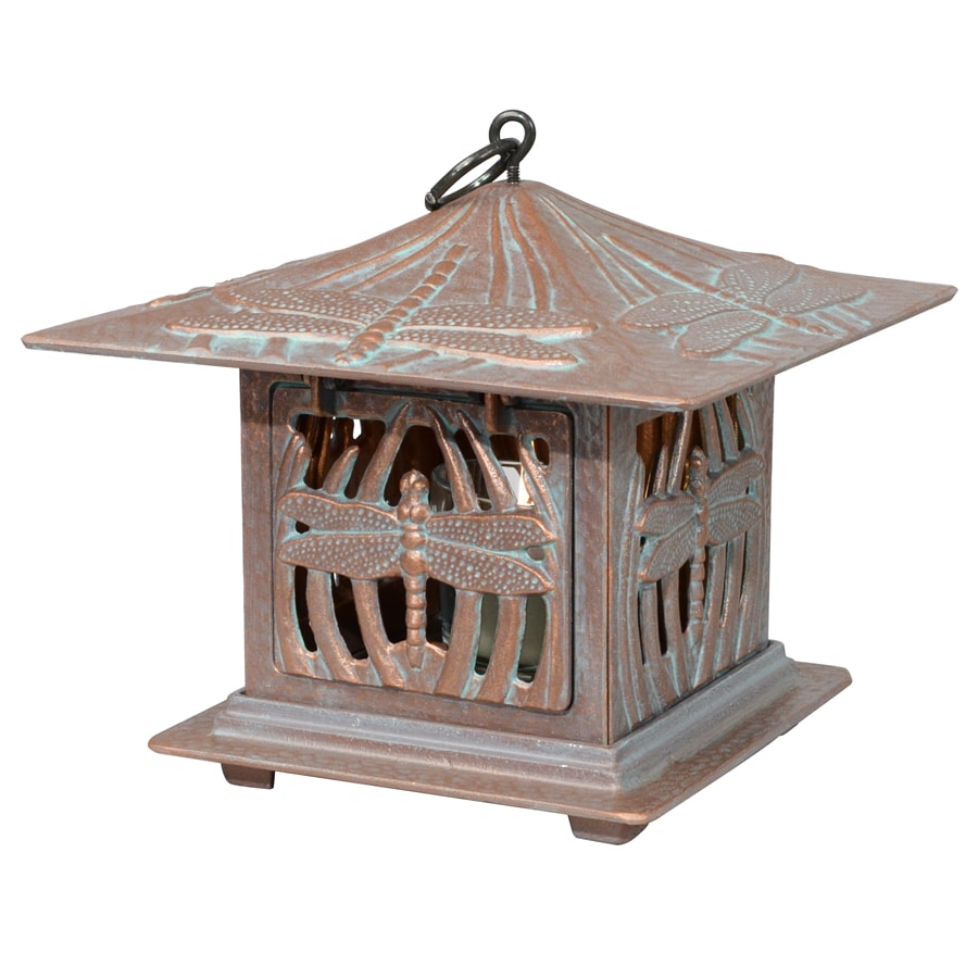 Whitehall 9.5-in x 9.5-in Copper Verdi Metal Tea Light Outdoor Decorative Lantern