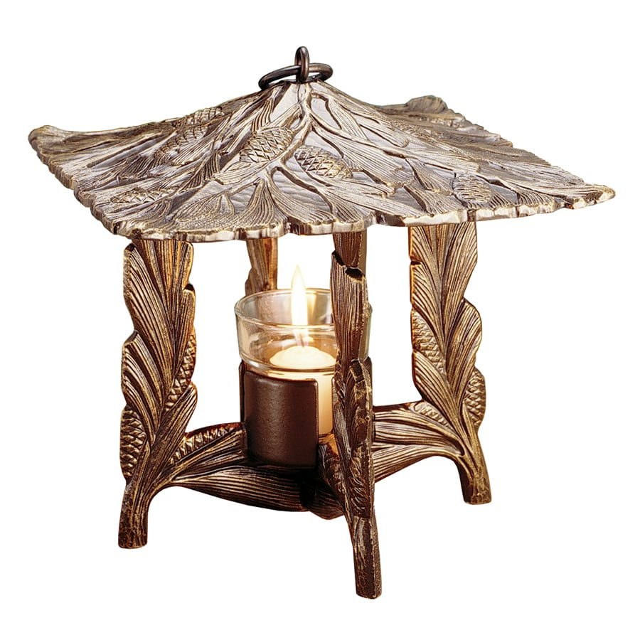 Whitehall 9.5-in x 9.5-in French Bronze Metal Tea Light Outdoor Decorative Lantern