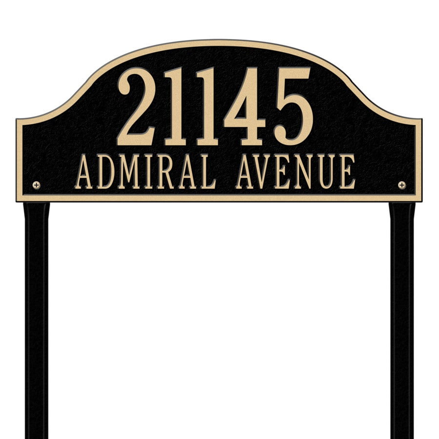 Whitehall 26.5-in x 23.75-in Admiral Estate Lawn Two Line Black/Gold Plaque