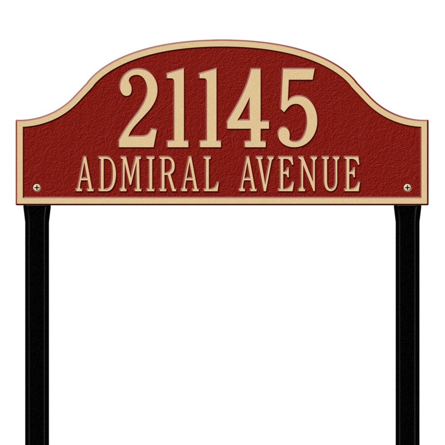 Whitehall 26.5-in x 23.75-in Admiral Estate Lawn Two Line Red/Gold Plaque