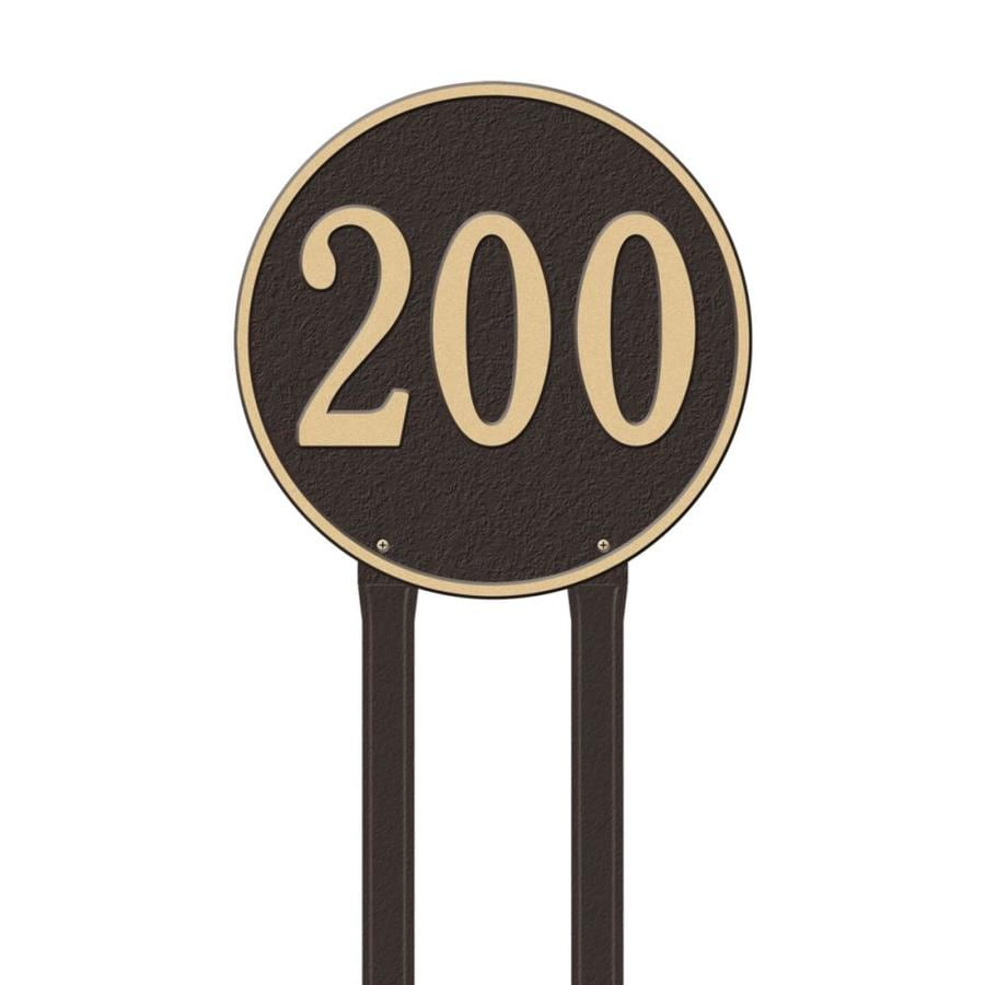 Whitehall 32-in x 15-in 15-in Round Lawn One Line Bronze/Gold Plaque