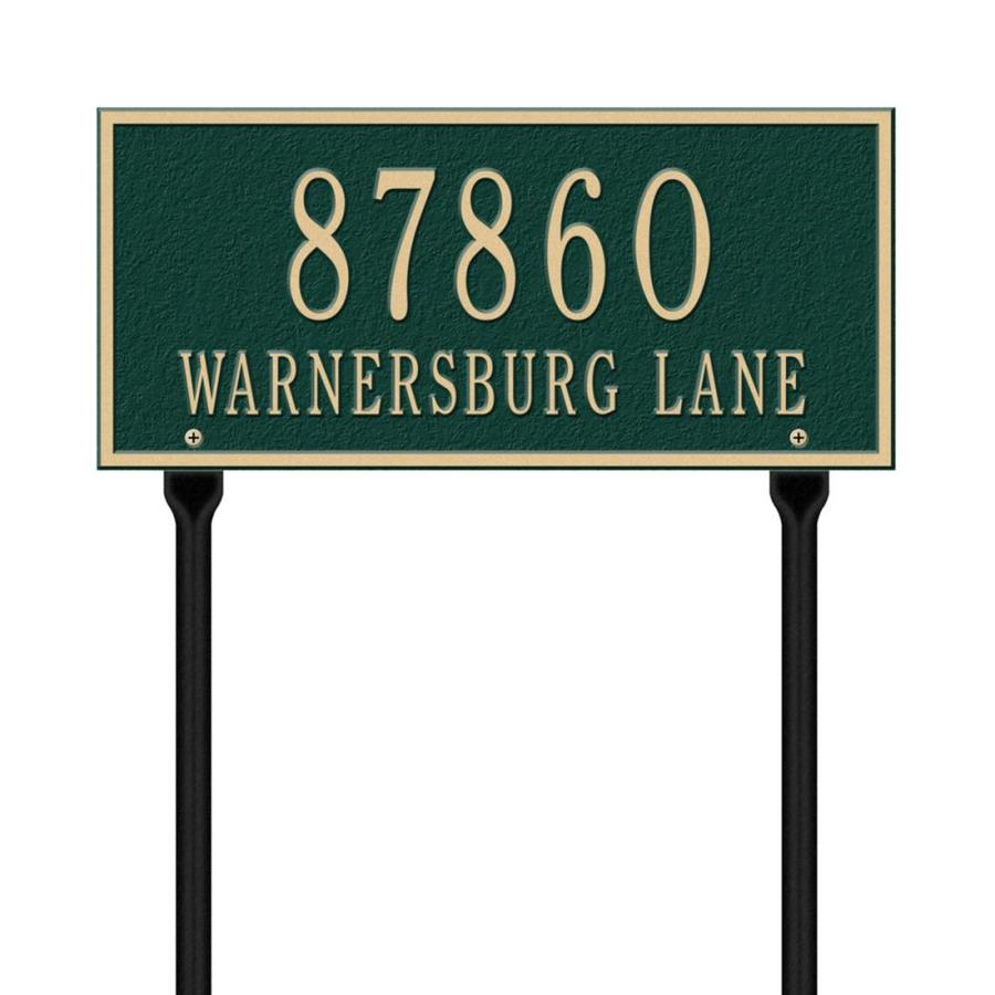 Whitehall 7.25-in x 16-in Whitehall Products Hartford Standard Lawn Two Line Green/Gold Plaque