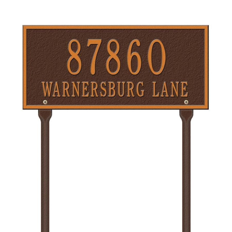 Whitehall 7.25-in x 16-in Whitehall Products Hartford Standard Lawn Two Line Antique Copper Plaque