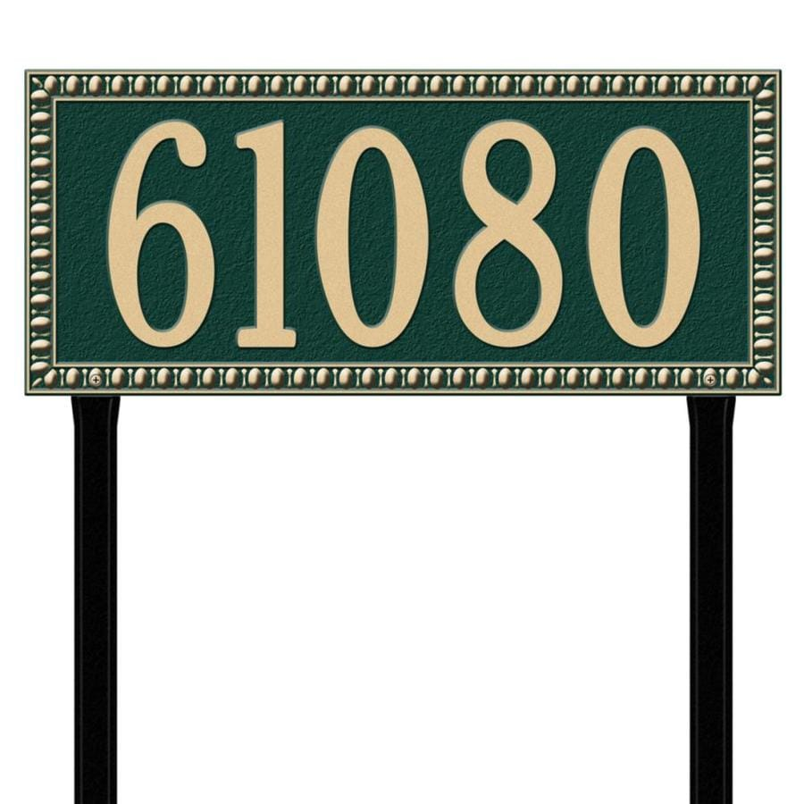 Whitehall 27-in x 23.25-in Egg and Dart Estate Lawn One Line Green/Gold Plaque