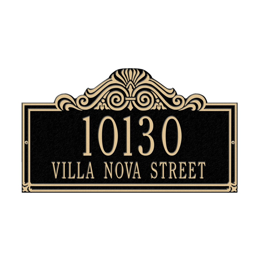 Whitehall 9.5-in x 16.5-in Villa Nova Standard Wall Two Line Black/Gold Plaque