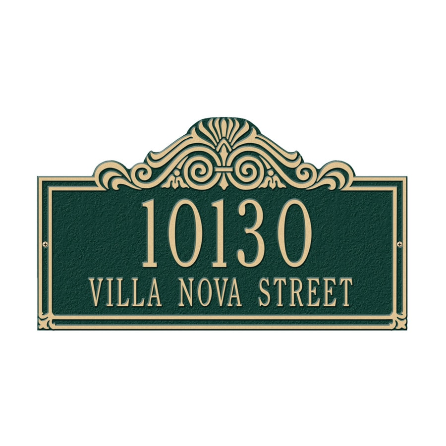 Whitehall 9.5-in x 16.5-in Villa Nova Standard Wall Two Line Green/Gold Plaque