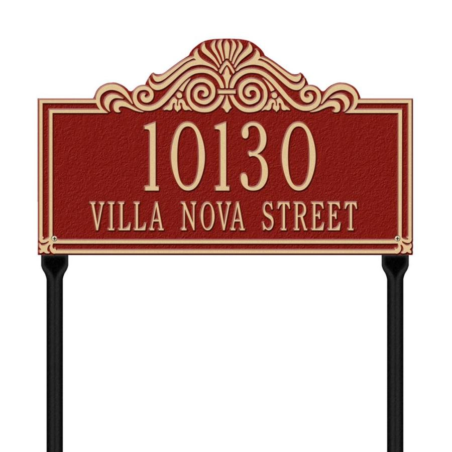 Whitehall 26.5-in x 16.5-in Villa Nova Standard Lawn Two Line Red/Gold Plaque
