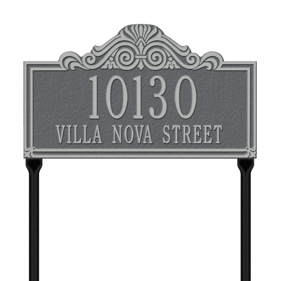Whitehall 26.5-in x 16.5-in Villa Nova Standard Lawn Two Line Pewter Silver Plaque