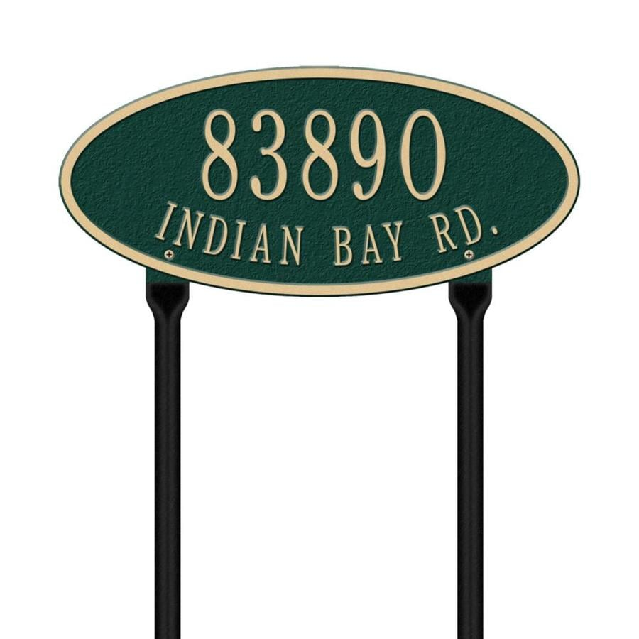 Whitehall 24.75-in x 17.5-in Madison Oval Standard Lawn Two Line Green/Gold Plaque