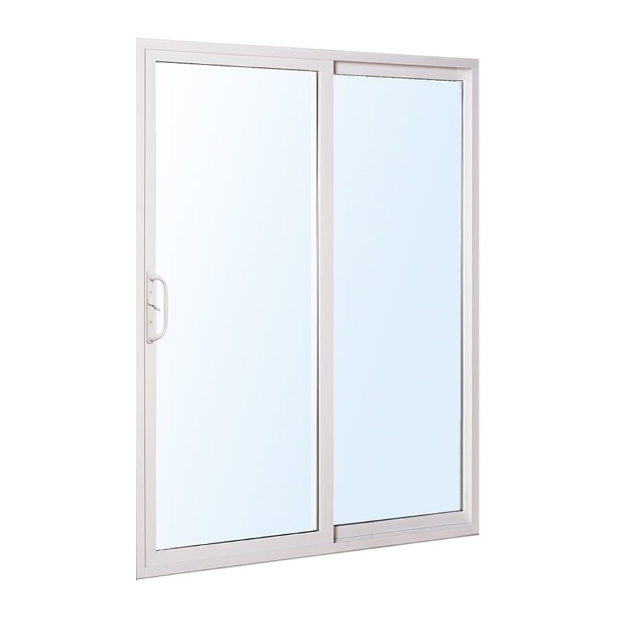 Good ReliaBilt 300 Series 58.75 In Clear Glass White Vinyl Sliding Patio Door
