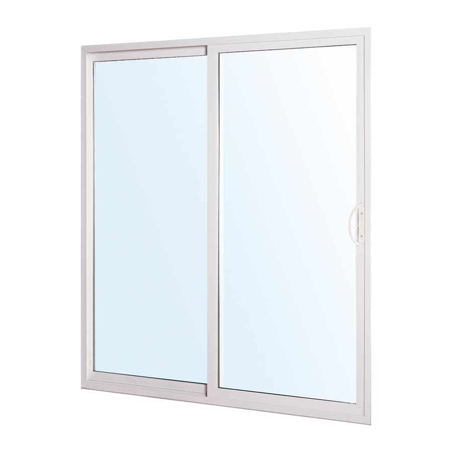 reliabilt 300 series 7075in clear glass white vinyl sliding patio door