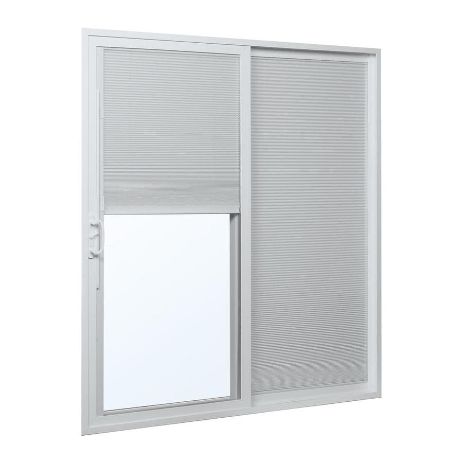 ReliaBilt 300 Series 70.75-in Blinds Between the Glass White Vinyl Sliding Patio Door
