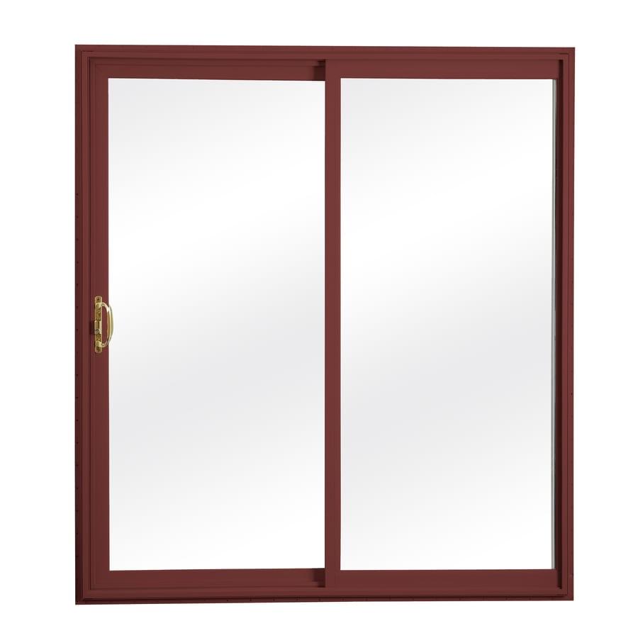 ReliaBilt 312 70.75-in x 79.5-in Clear Glass Reversible Vinyl Sliding Patio Door with Screen