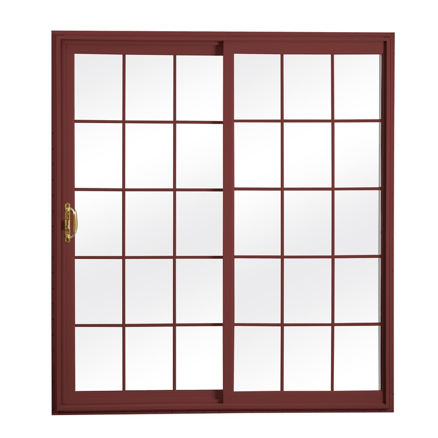 ReliaBilt 300 Series 70.75-in Grilles Between the Glass Wh Int/Red Ext Vinyl Sliding Patio Door with Screen