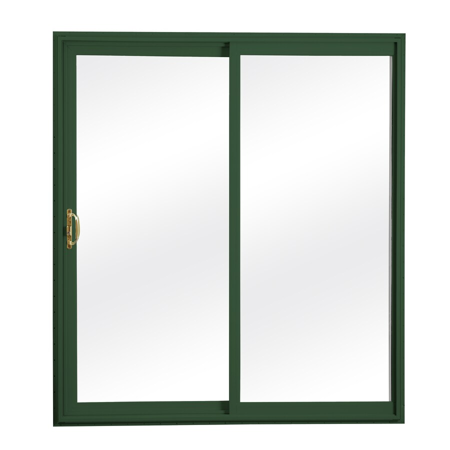 ReliaBilt 300 Series 58.75-in Clear Glass Wh Int/Green Ext Vinyl Sliding Patio Door with Screen