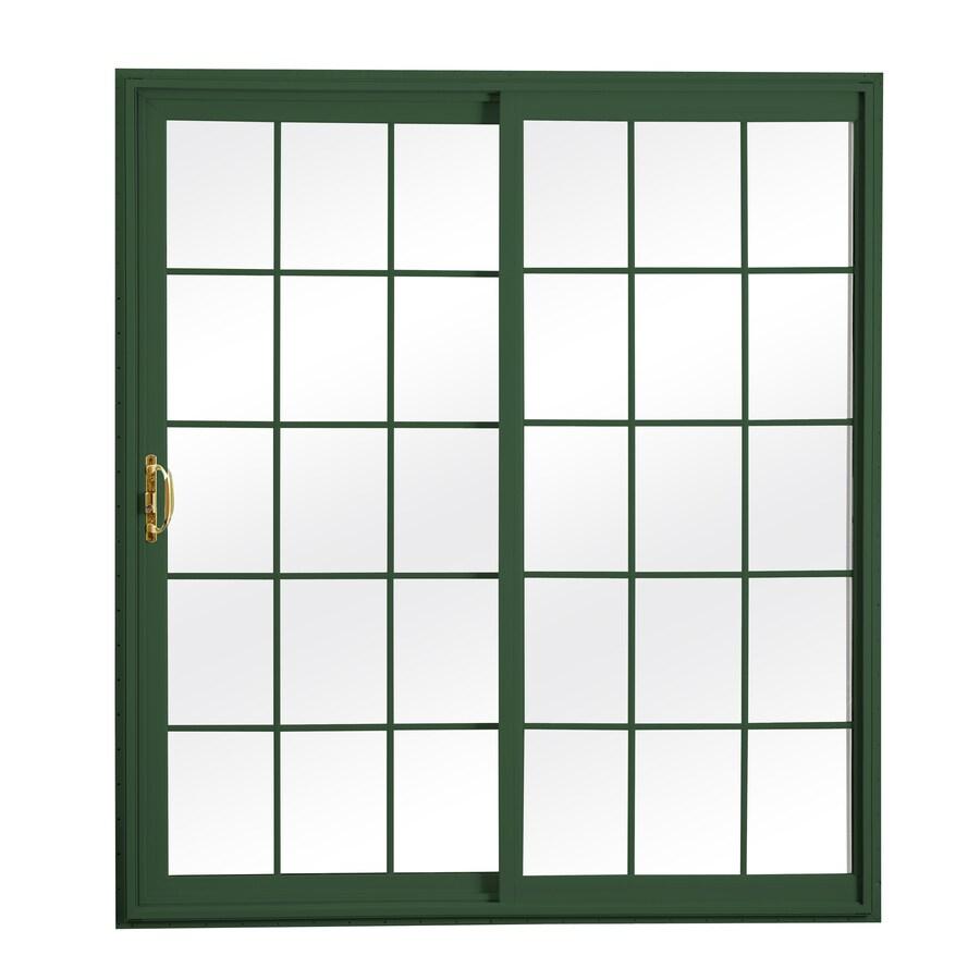 ReliaBilt 300 Series 70.75-in Grilles Between the Glass Wh Int/Green Ext Vinyl Sliding Patio Door with Screen