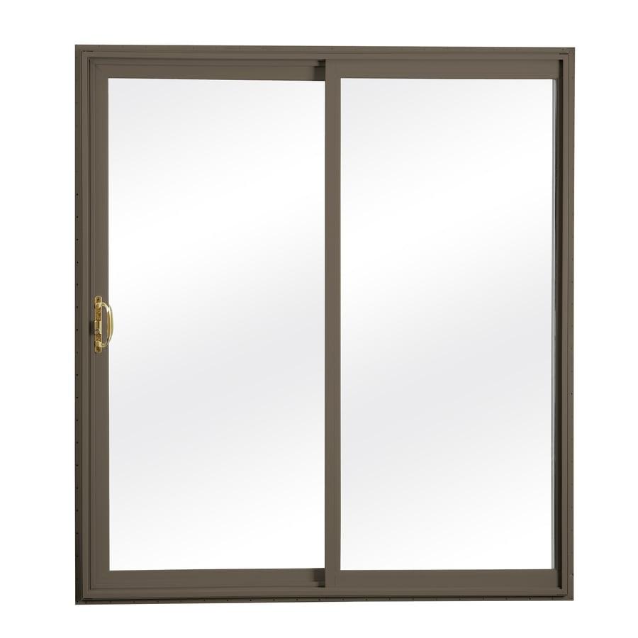 ReliaBilt 312 58.75-in x 79.5-in Clear Glass Reversible Vinyl Sliding Patio Door with Screen