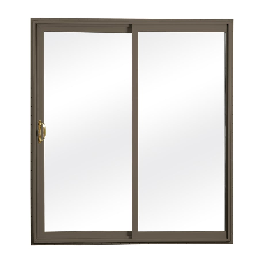 ReliaBilt 300 Series 70.75-in Clear Glass Wh Int/Terratone Ext Vinyl Sliding Patio Door with Screen