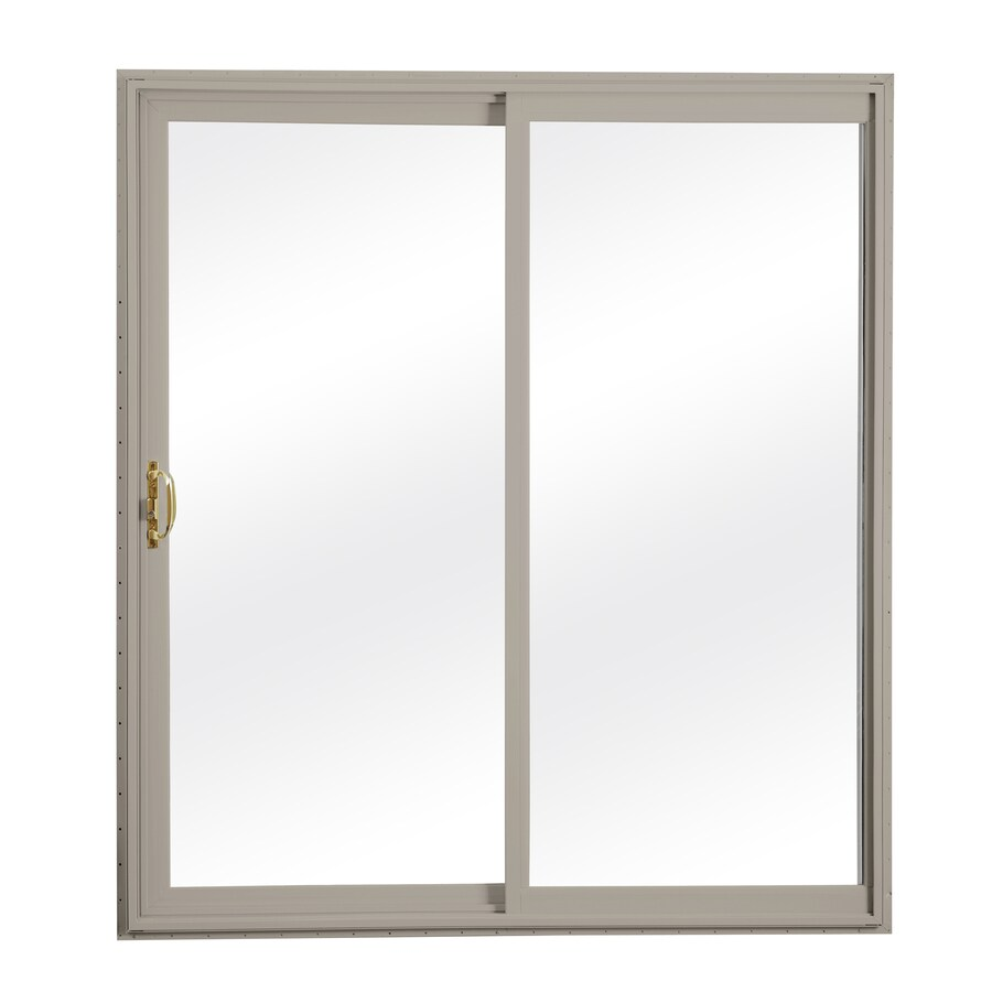 ReliaBilt 300 Series 58.75-in Clear Glass Wh Int/Clay Ext Vinyl Sliding Patio Door with Screen