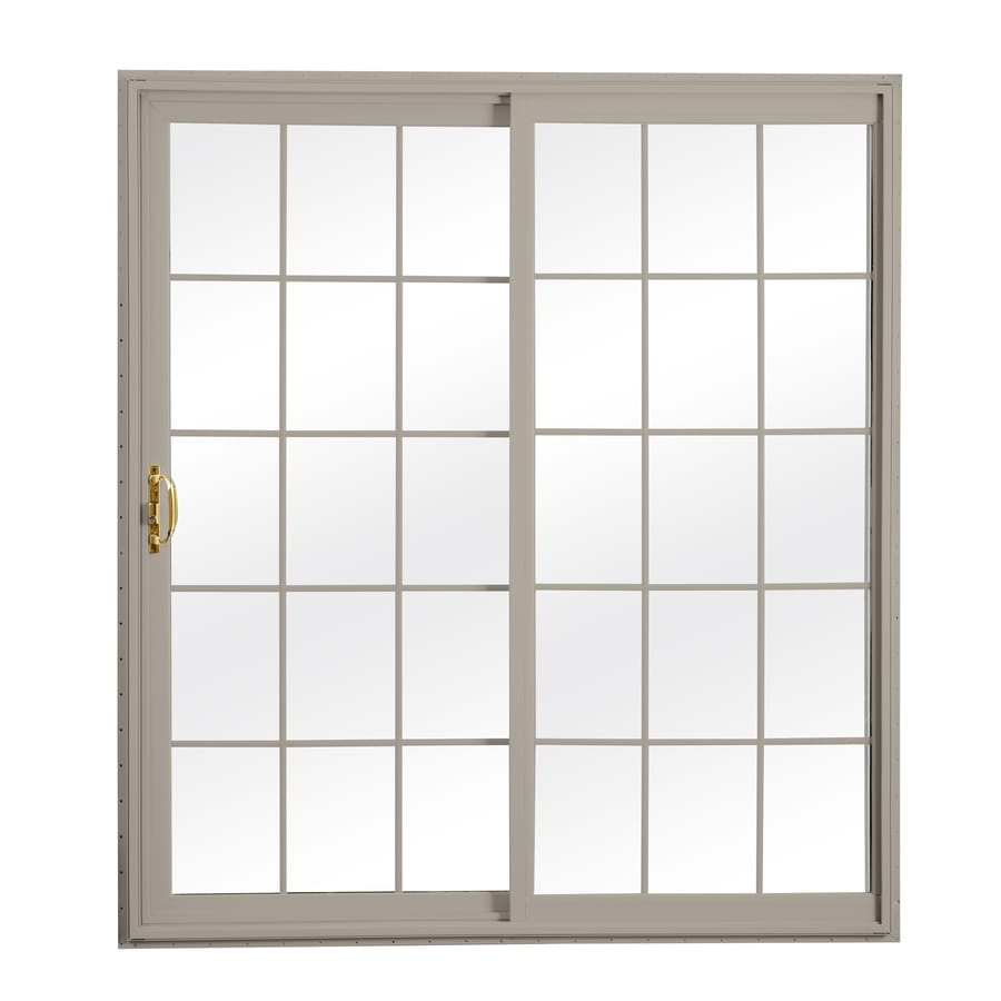 ReliaBilt 300 Series 70.75-in Grilles Between The Glass Glass Wh Int/Clay Ext Vinyl Sliding Patio Door with Screen