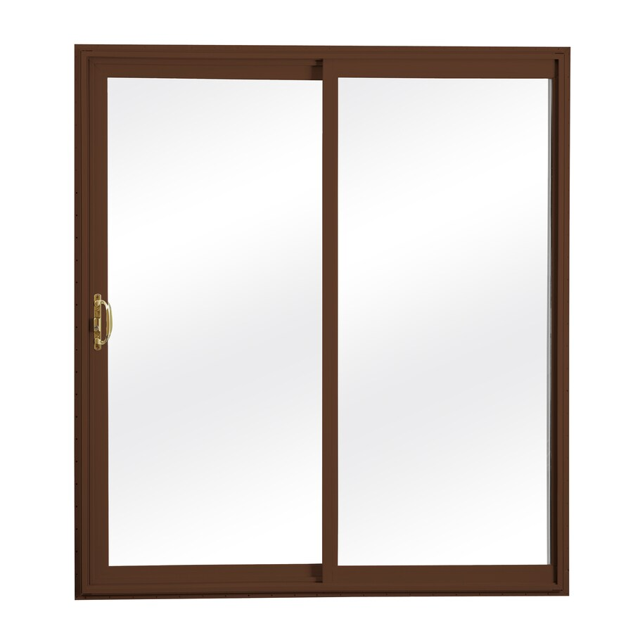 ReliaBilt 300 Series 58.75-in Clear Glass Wh Int/Chocolate Brown Ext Vinyl Sliding Patio Door with Screen