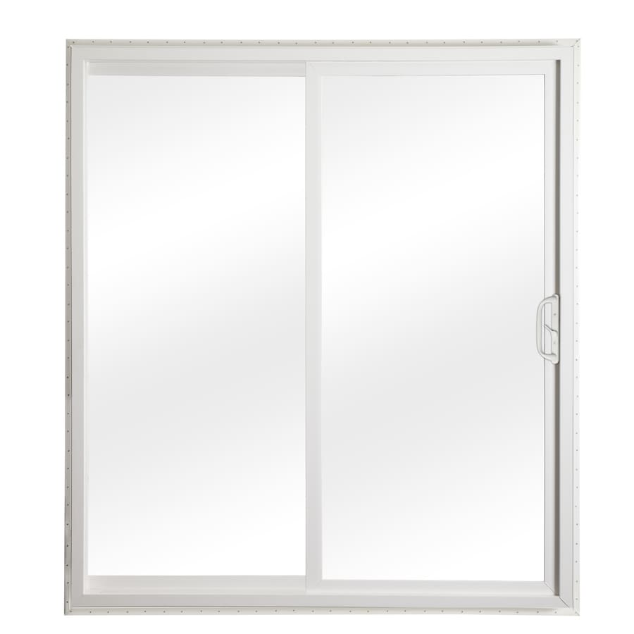 Shop reliabilt 332 series clear glass white vinyl for Glass patio doors