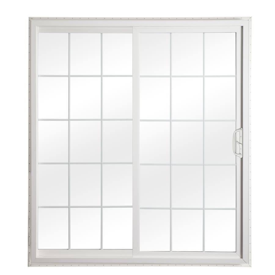 ReliaBilt 332 Series 70.75-in Grilles Between the Glass White Vinyl Sliding Patio Door with Screen