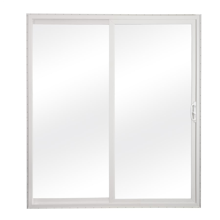 reliabilt clear glass white vinyl sliding patio door with insulating