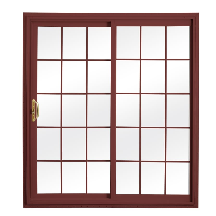 ReliaBilt 332 Series 70.75-in Grilles Between the Glass Wh Int/Red Ext Vinyl Sliding Patio Door with Screen