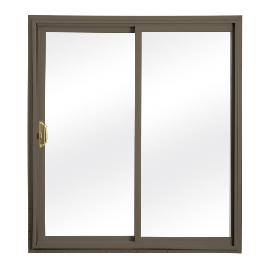ReliaBilt 332 Series 58.75-in Clear Glass Wh Int/Terratone Ext Vinyl Sliding Patio Door with Screen
